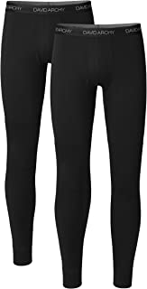 Men's 2 Pack Rib Stretchy Winter Warm Base Layer Pants Fleece Lined Thermal Bottoms Long Johns with Fly