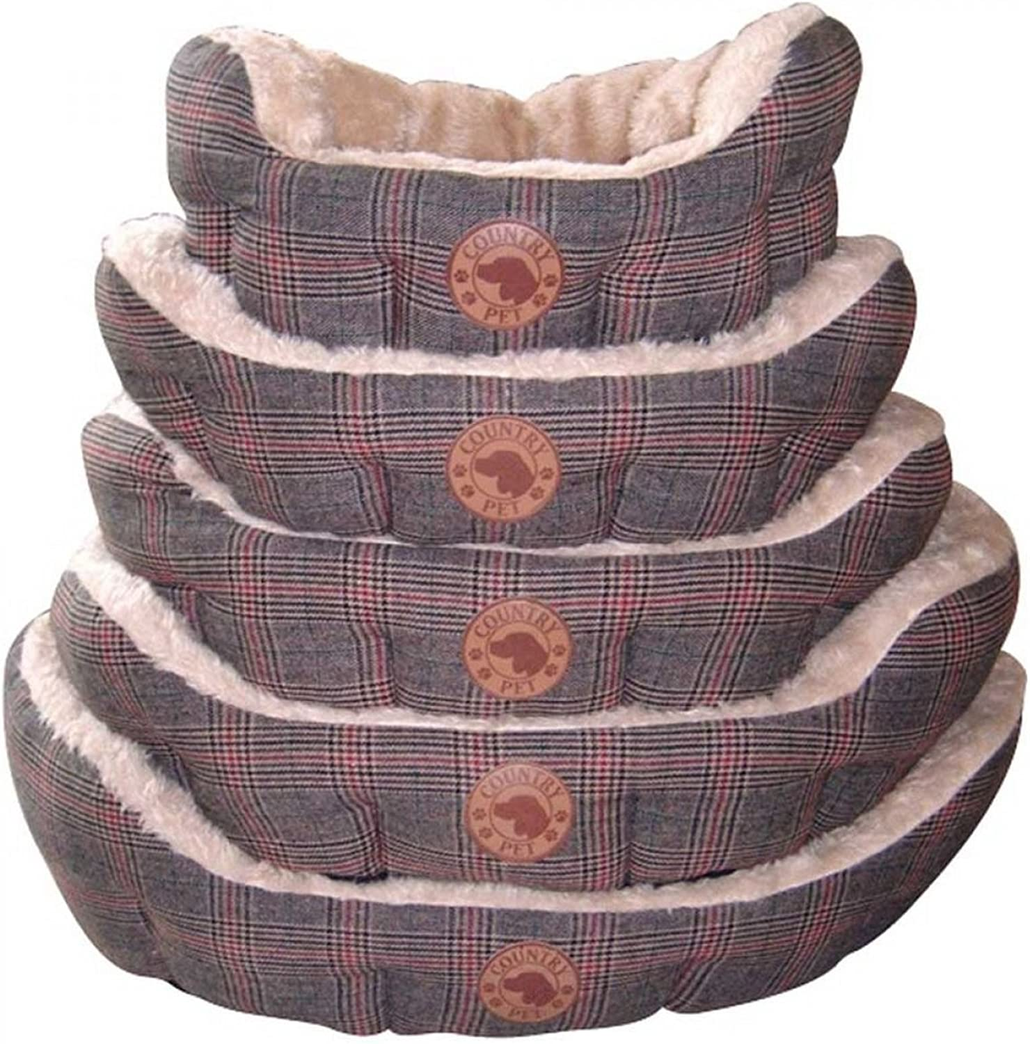 Country Pet Dog Basket Tweed handcrafted 50x40