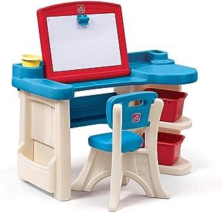 Step2 The Studio Bureau avec tableau et chaise pour enfants | Table de créativité en plastique avec espace de rangement