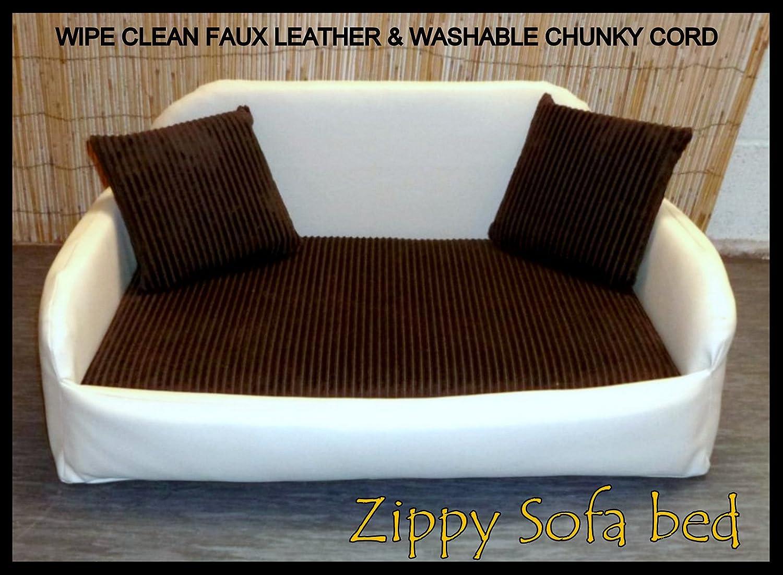 XXL CREAM Faux Leather -* BROWN Chunky Jumbo Cord Sofa Dog Bed Easy Care Cure Pulite -* Lavabili Tessuti Rimozibili