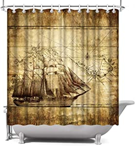 ArtBones Nautical Shower Curtain Ocean Sailing Boat Compass and Map Pattern Waterproof Polyester Fabric Bath Curtain Set Vintage Brown 72x72inch