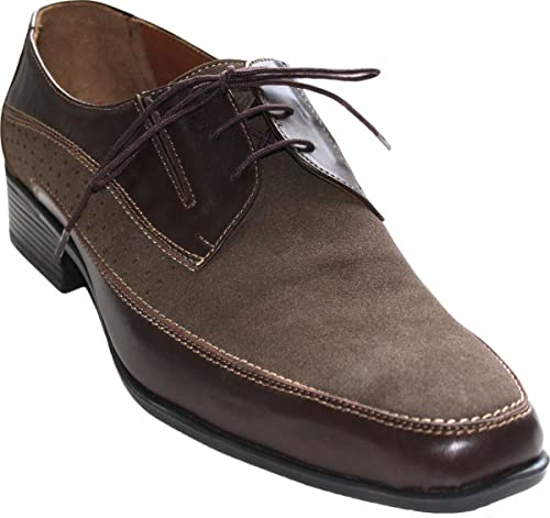 German Wear - Zapaños de cordones de cuero para hombre marrón marrón oscuro