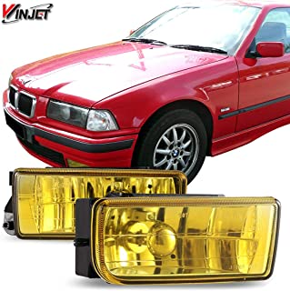 Winjet Fog Lights Compatible With 1992-1999 BMW E36 M3 | Smoke Polycarbonate Resin Fog Light Lamps | 1993 1994 1995 1996 1997