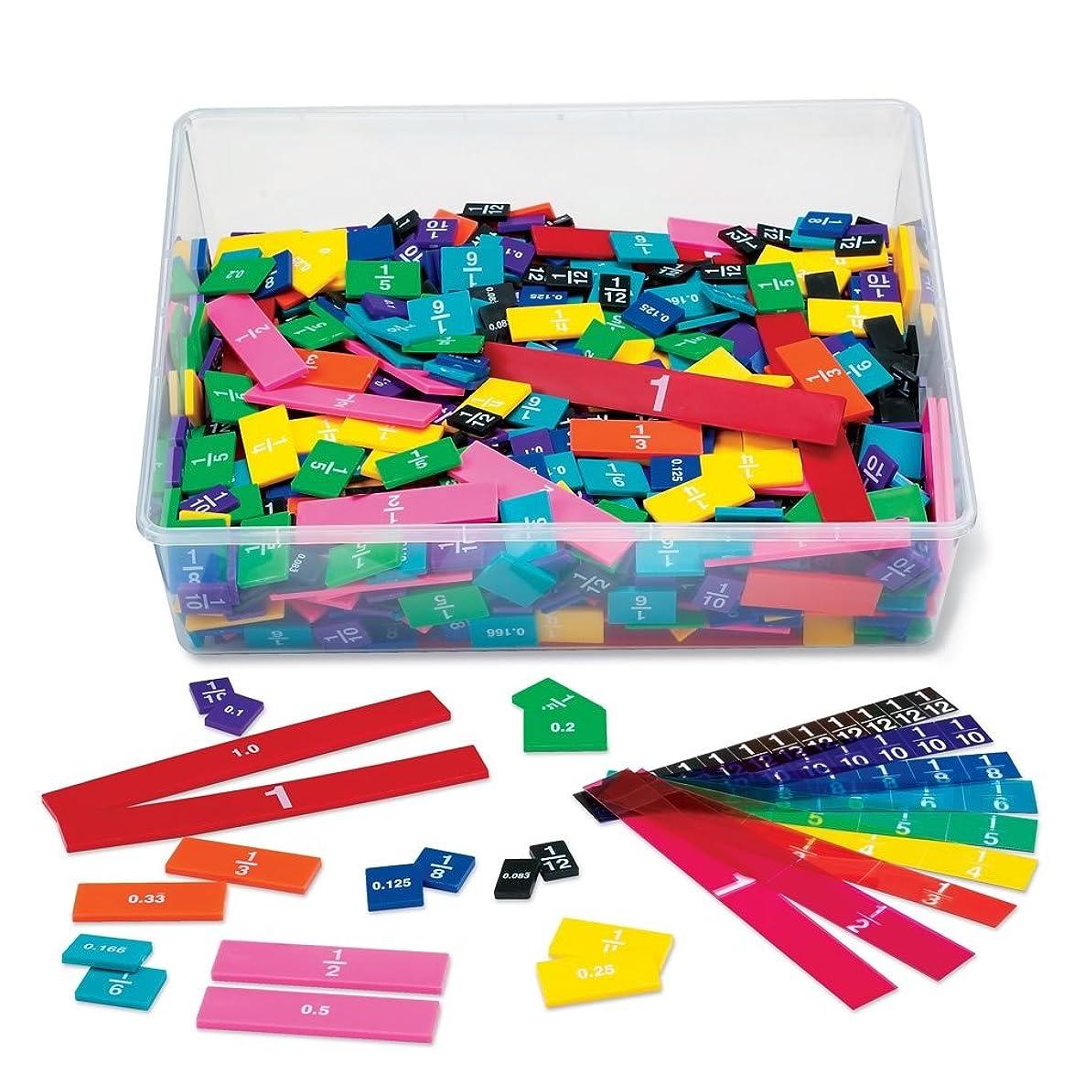 ETA hand2mindプラスチックレインボー分数と小数タイルバルク教室キットwithストレージトート(15個パック)