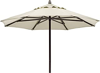 Telescope Casual Furniture Commercial Outdoor Market 7.5' Round Umbrella, Textured Beachwood Frame, Aruba Fabric