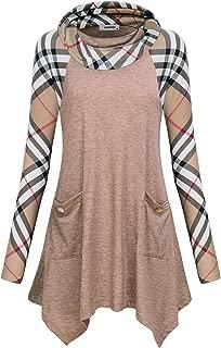JCZHWQU Women's Cowl Neck Asymmetric Hem Colorblock Tunic Tops