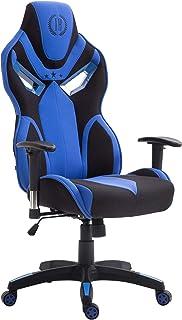 Silla De Oficina Fangio Tapizado En Tela I Silla Racing Regulable En Altura & Mecanismo De Balanceo I Silla Gamer con Ruedas I Color:, Color:Negro/Azul