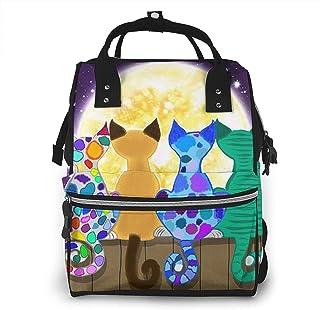 Risating Mummy Rugzak - Zes Kleurrijke Katten Baby Veranderende Zakken Multifunctionele Waterdichte Twill Canvas voor Reizen