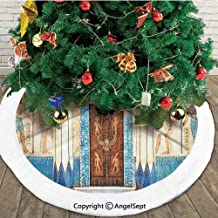 Ancient Egyptian Writing on Stone Antique Old Indigenous Civilization, Christmas Tree Skirt,Beige Blue and Brown,48 inches,New Year Christmas Party Holiday Decoration