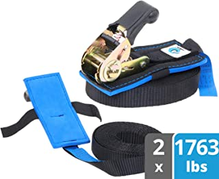 valonic Ratchet Straps, Tie Down Straps with Anti-Scratch pad, 13 FT x 1 inch, 1763 lbs Break Strength, 2-Pack Lashing Strap Set, Black