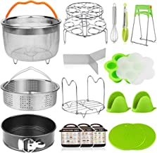 18 pieces Pressure Cooker Accessories Set Compatible with Instant Pot 6,8 Qt - 2 Steamer Baskets, Springform Pan, Stackabl...