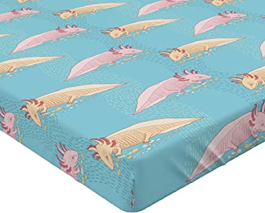 Lunarable Axolotl Fitted Sheet, Pattern with Mexican Axolotls on Sea Inspired Background, Bed Cover with All-Round Elastic De