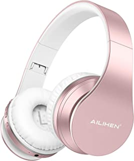 AILIHEN A80 - Auriculares inalámbricos Bluetooth con micrófono Hi-Fi estéreo plegables con cable, almohadillas suaves, soporte con tarjeta TF/modo MP3, tiempo de reproducción de 25 horas para viajes, TV, PC, teléfono celular (oro rosa)