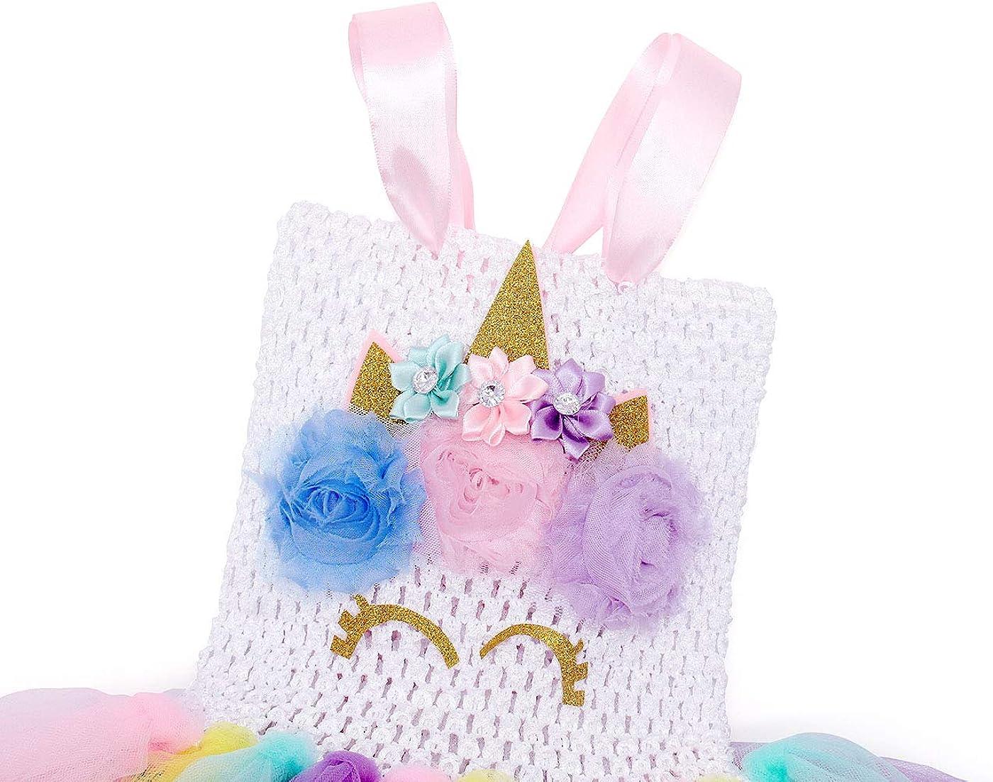 Cotrio Rainbow Unicorn Tutu Dress Girls Princess Halloween Costumes Outfits with Headband