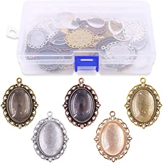 Glarks 70Pcs Oval Pendant Set, 35Pcs 5 Colors Pendant Trays and 35 Pieces Bright Glass Cabochon Dome Tiles for Bracelet Necklace Crafting DIY Jewelry Gift Making