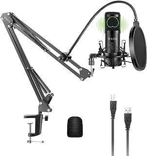 کیت میکروفون کندانسور کاردیوید USB WRIOL با چیپ ست صوتی با کیفیت بالا 192 کیلوهرتز / 24 بیت برای Mac و Windows ایده آل برای استودیوی خانگی ، پادکست ، پخش بازی ، ضبط موسیقی ، صدا و گفتار (سیاه)