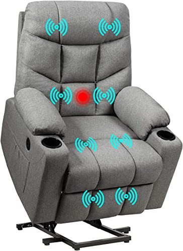 high quality Giantex Power Lift Chair outlet online sale Electric Recliner Sofa for Elderly, Fabric Reclining Sofa w/ 8 Point Massage & Lumbar Heat, 2 Side Pockets Cup Holders outlet online sale USB Charge Port, Motorized Sofa Chair for Living Room outlet online sale