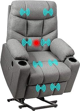 Giantex Power Lift Chair Electric Recliner Sofa for Elderly, Fabric Reclining Sofa w/ 8 Point Massage & Lumbar Heat, 2 Si