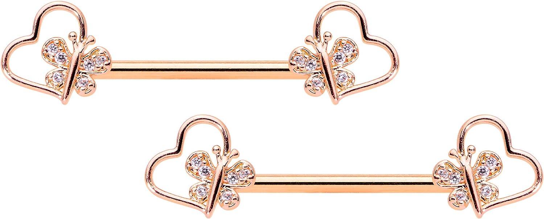 Body Candy 14G Womens Nipplerings Piercing PVD Steel 2Pc Rosy Heart Butterfly Nipple Ring Set 9/16
