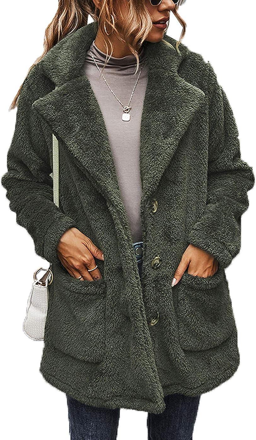 Cocoinsity Womens Fuzzy Jackets Coats Long Sleeve Winter Coat Faux Fur Outwears with Pockets