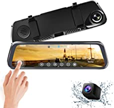 CHICOM 9.66 inch Mirror Dash Cam Touch Full Screen ; 1080P 170° Full HD Front Camera;1080P 140°Wide Angle Full HD Rear View Camera;Time-Lapse Photography (V40-1080P)