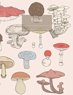 Notebook: Large notebook with 120 Lined pages. Wide ruled. Ideal for School notes, Journaling, Hand lettering, Calligraphy practice. Perfect gift. 8.5' x 11.0' (Large). (Mushroom sorts cover).