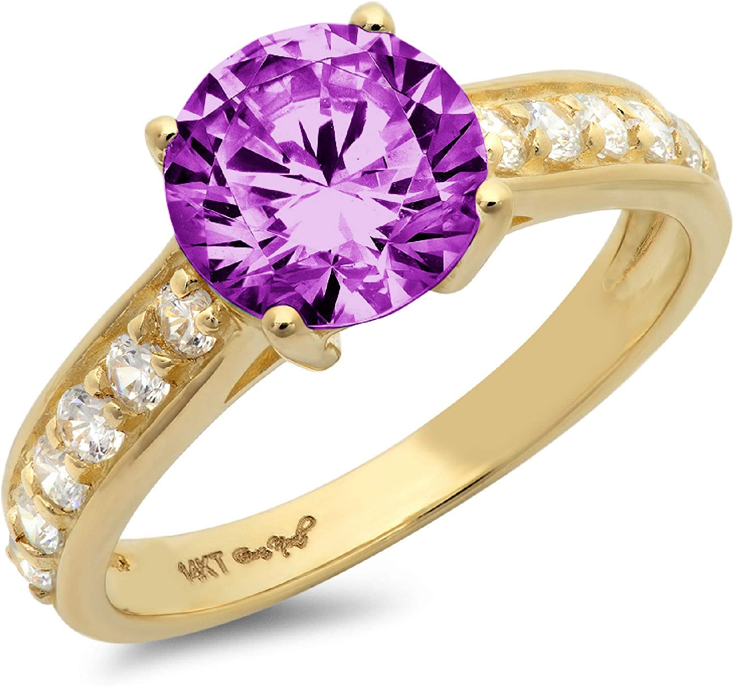 Clara Pucci 2.35 ct Brilliant Round Cut Solitaire Accent Stunning Genuine Flawless Simulated Alexandrite Gem Designer Modern Statement Ring Solid 18K Yellow Gold