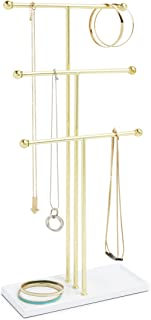 Umbra Trigem Hanging Jewelry Organizer – 3 Tier Table Top Necklace Holder and Display, White/Brass