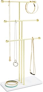 Umbra Brass Trigem Hanging Jewelry Organizer – 3 Tier Table Top Necklace Holder and Display, White