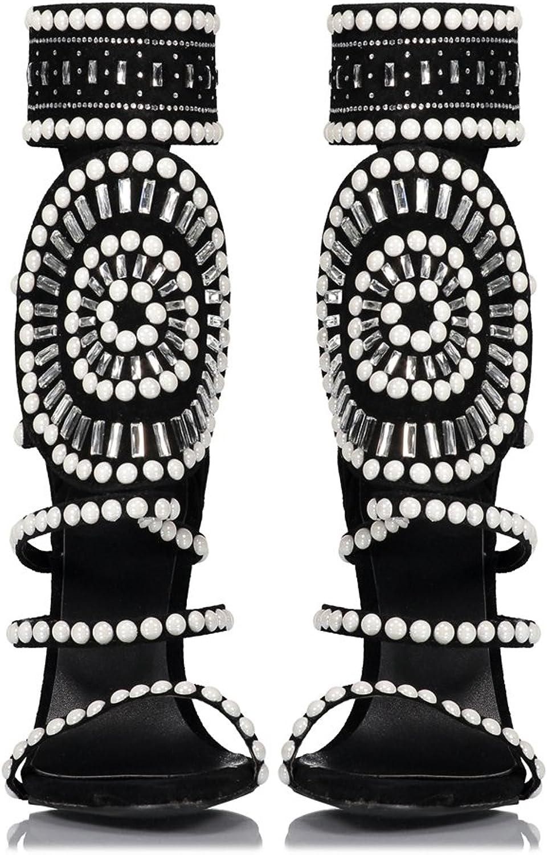 Lacitena Women's Openwork High Heels,Black High Heels, Rhinestone Ankle Strap shoes Sandals