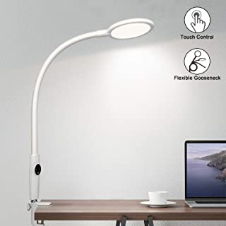Flexible Gooseneck Desk Lamp Dimmable with Touch Control, 10W 600LM LED Modern Metal Clamp Light, 5-Level Brightness & 5 Color Temperatures LED Eye-Care Light for Office/Work, Memory Function, White