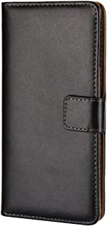 Nokia 8 Case, Jaorty Genuine Leather Premium Leather Folio Wallet Case Flip Notebook Cover Case Book Design with Kickstand Feature & Magnetic Closure & Card Slots/Cash Compartment for Nokia 8 -Black