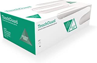 TouchGuard - Guantes de látex natural desechables sin polvos, caja de 100 unidades, grandes