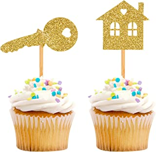 iMagitek 30 Pack Glitter Sweet Home Cupcake Toppers, Welcome New House Cupcake Toppers for Housewarming Party Decorations