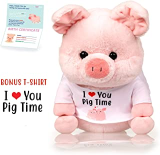 infloatables Pig Stuffed Animal - The Original I Love You Pig Time Plush Pigs Toy, Adorable Tshirt Makes a Great Gift