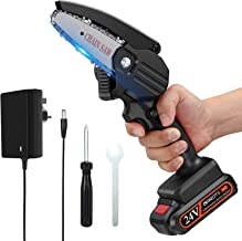 Mini Chainsaw, APROTII 4-Inch 24V Cordless Electric Portable Chain Saw with Rechargeable Battery One-Handed Portable Pruni...
