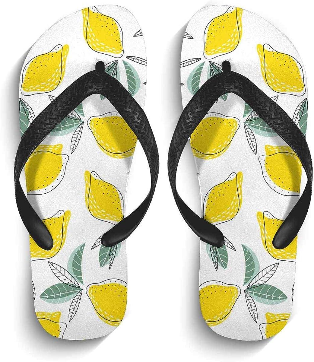 InterestPrint Men's Non-Slip Flip Flops Sandal Bright and Juicy with Lemons Summer Beach Thong Slippers S