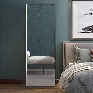 MIRUO Full Length Mirror Floor Mirror Hanging/Leaning Large Wall Mounted Mirror Horizontal/Vertical Bedroom Mirror Dressing Mirror, White, 65