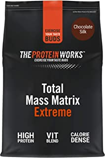 THE PROTEIN WORKS Total Mass Matrix Extreme Protein Powder | Masa Muscular | Alto en Calorías Para Ganar Masa | Con Glutamina. Creatina y Vitaminas | Chocolate Suave | 1.325kg