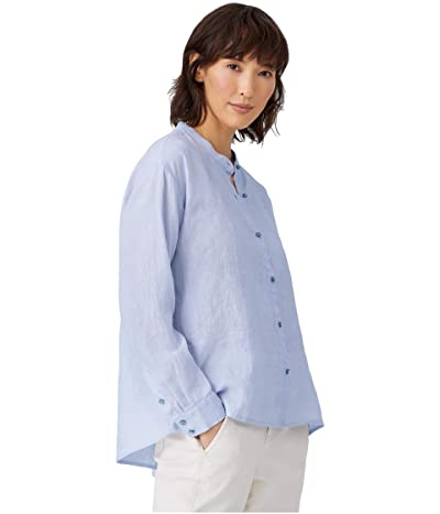 Eileen Fisher Organic Handkerchief Linen Mandarin Collar Box Top (India Sky) Women