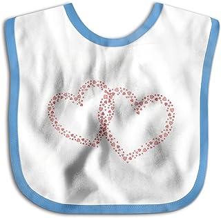 UBCATDESA Valentine's Day Love Heart Baby Bibs, Unisex Baby Soft Cotton Easily Clean Teething Bibs(Blue&Pink)