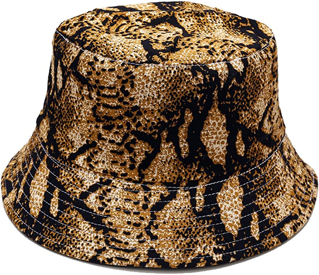 Joylife Snakeskin Print Bucket Hat Trendy Animal Pattern Fisherman Hats Unisex Reversible Packable Cap