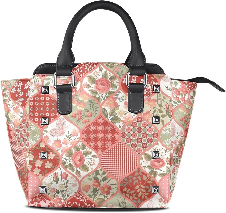 My Little Nest Women's Top Handle Satchel Handbag Butterfly and Floral Ladies PU Leather Shoulder Bag Crossbody Bag
