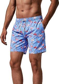 MaaMgic heren zwemshort FAST DRYING boardshort trainingsbroek met mesh voering en verstelbaar trekkoord, Blauwe flamingo, XL