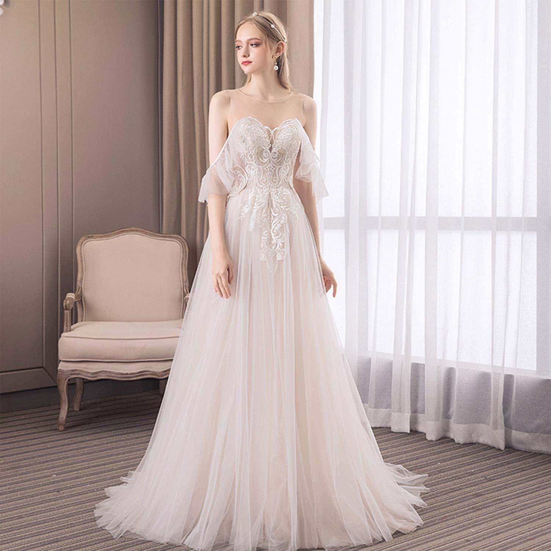 Women's Tulle Bride Wedding Dresses Simple Elegant Princess Dream Floor Length Hollow Backless Ceremony Evening Prom Dresses with Lace Appliques Veil