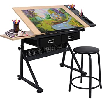 Adjustable Height Drafting Desk Drawing Table Tiltable Tabletop for Reading, Writing Art Craft w/Stool and Drawers