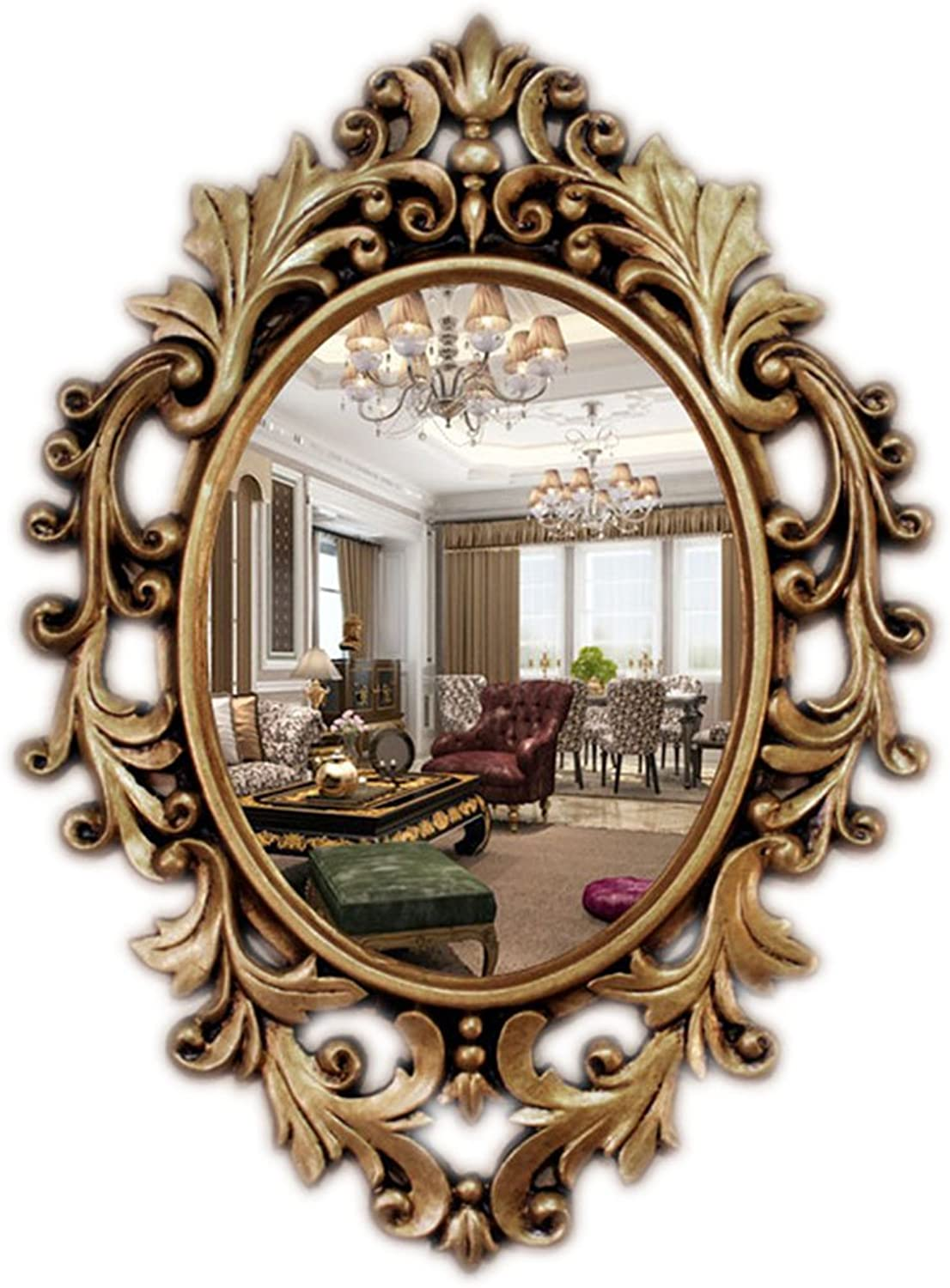 Greawei@ Bathroom Mirror European Antique Old Wall Hanging Decorative Mirror Makeup Mirror Ladies Dressing Mirror Home6748cm Simple and Elegant (color   Ancient gold)