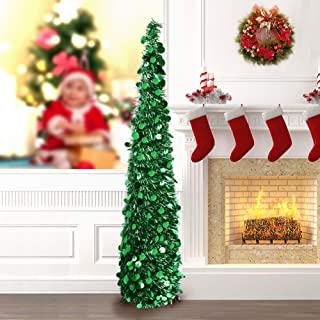 PartyTalk 5ft Pop Up Christmas Tree with Stand, Green Tinsel Collapsible Artificial Christmas Tree for Holiday Christmas Home Decorations