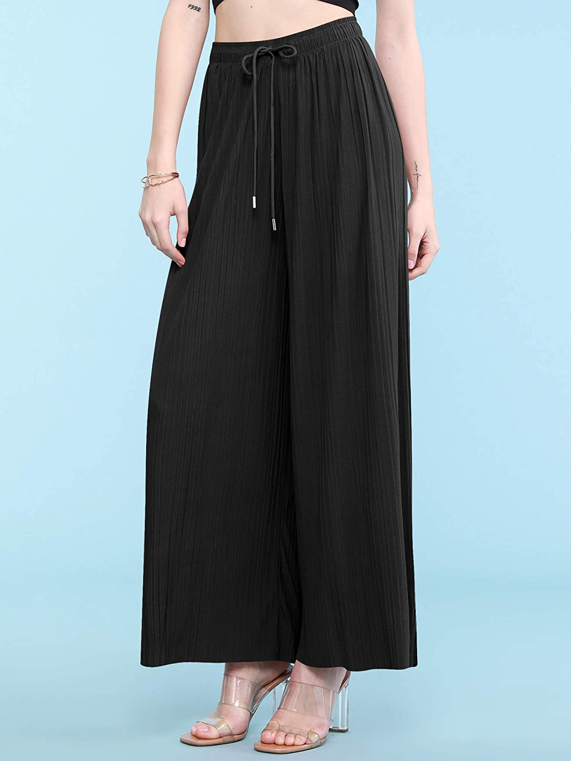 Made By Johnny Women's Premium Pleated Maxi Wide Leg Palazzo Pants Gaucho- High Waist with Drawstring