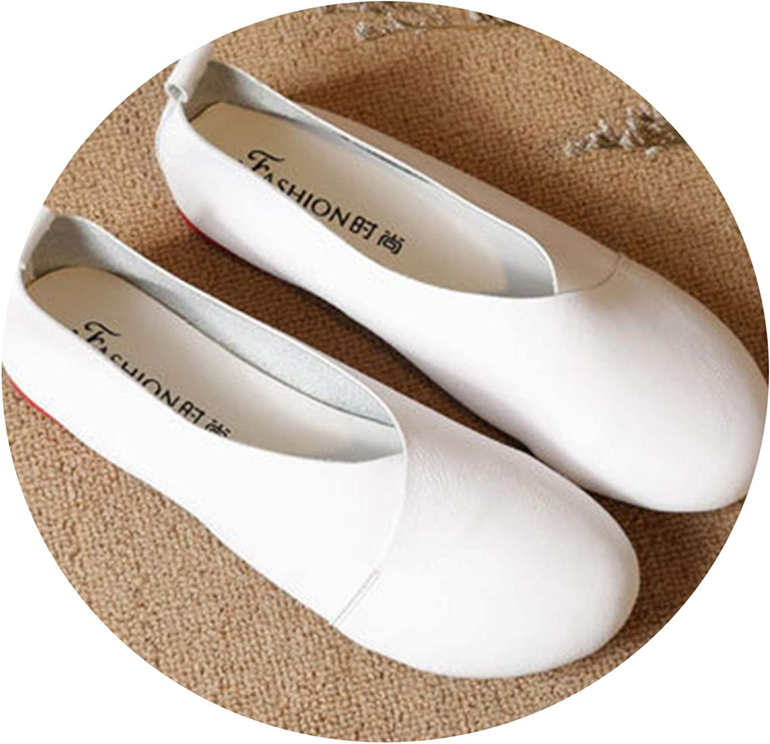 Don't mention the past 2019 Genuine Leather Flat shoes Woman Hand-Sewn Leather Loafers Cowhide Flexible Spring Casual shoes,White,7.5